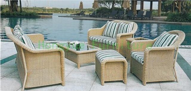 Nueva PE de mimbre jardín muebles sofá conjunto con cojines, sofá ...