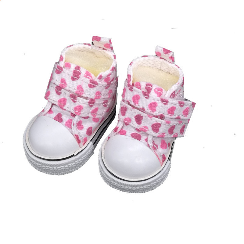 5cm Canvas Doll Shoes For BJD Dolls,New Arrival Mini Casual Heart Design Sneakers 1/6 Bjd Accessories for Dolls High Quality Toy new style doll accessories round shaped glasses sunglasses suitable for 1 3 bjd dolls mini doll glasses for dolls good quality