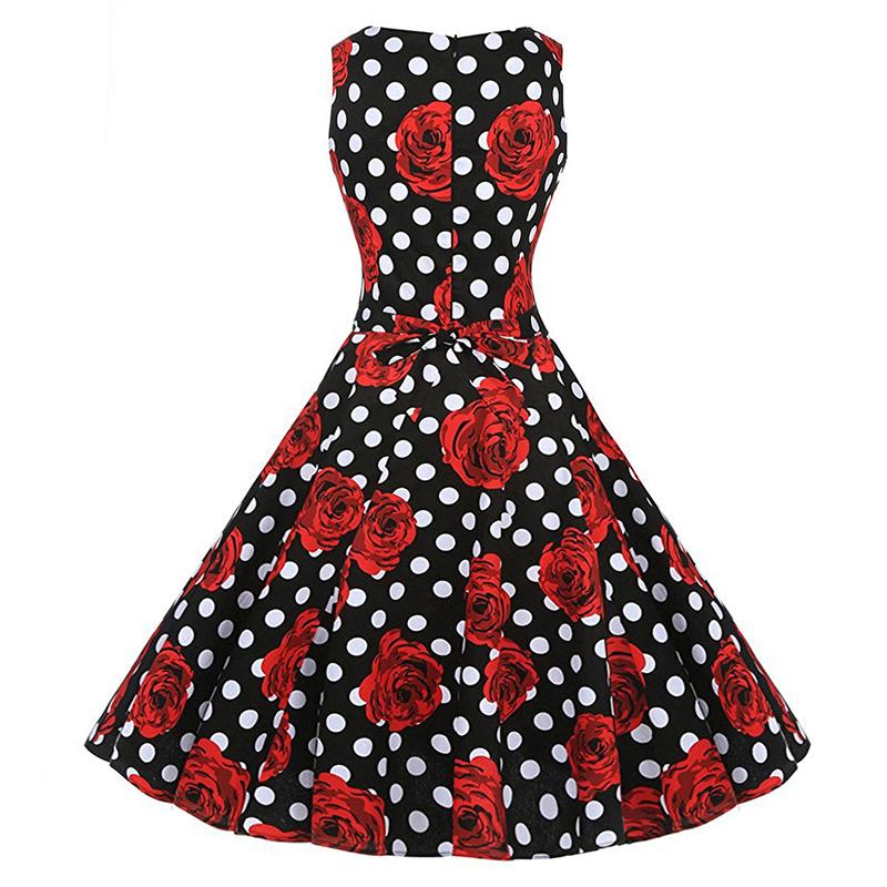 Kostlish Cotton Summer Dress Women 2017 Sleeveless Tunic 50s Vintage Dress Belt Elegant Print Rockabilly Party Dresses Sundress (92)