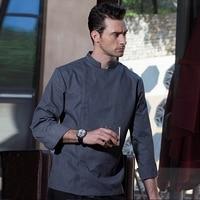 High Quality Winter Long Sleeve Professional Head Chef Uniform Restaurant Hotel Kitchen Grey Chef Jacket