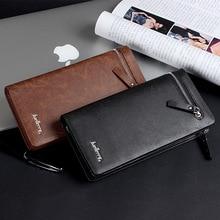 Business vintage phone zipper Large Capacity Metallic men long wallet coin pocket PU leather purse high quality 2019 slim clutch