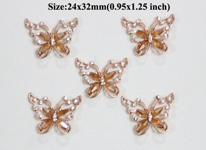 ᐃEnvío libre al por mayor 20 unids/lote 27x15mm mariposa rhinestone ...