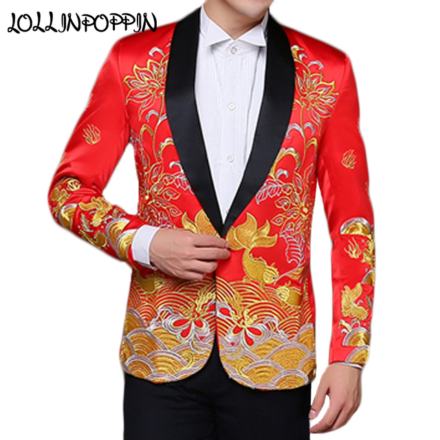 Chinese Traditional Mens Red Wedding Suit Jacket Shawl Collar ...