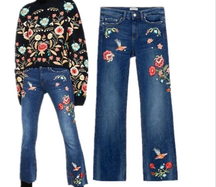 Europe Embroidery Floral Denim Jeans Pants Female Vintage Elegant Office Work Straight Slim Long Pants Jeans