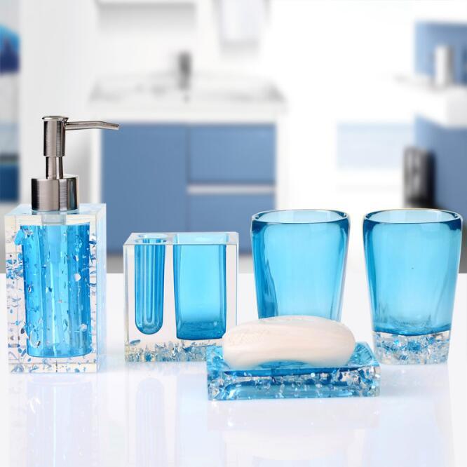 Haut de gamme résine salle de bains série salle de bain ensemble accessoires glace cristal diamant savon plat tasse Lotion bouteille lavage tasse cadeau de mariage