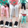 Children girls legging pants quality spring-summer New korean style candy color bird cotton legging pants for 2-7 Years girls