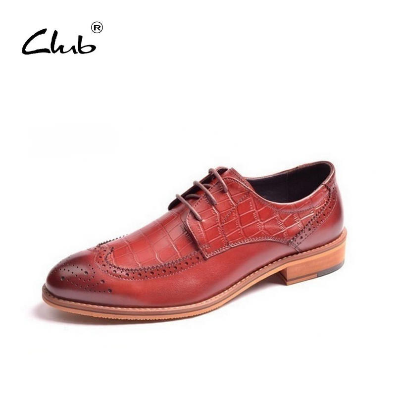 Club British Male Business Shoes Luxury Brand Leather Dress Shoes Bullock Carved Lace-Up Solid Mens Brogue Shoes Men Oxford Shoe cbjsho british style brogue shoes men s lace up casual leather men dress shoes flat solid color fashion bullock shoes man