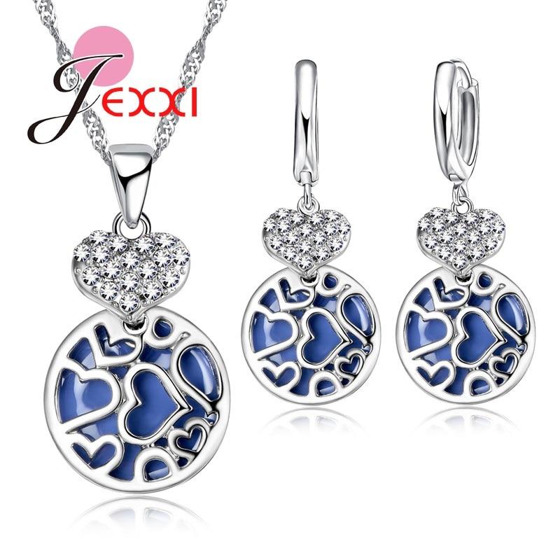 Fashion Wedding Jewelry Set Newest Arrival Zircon Rhinestone Necklace Earrings Woman Silver Blue Ball Heart Pendant