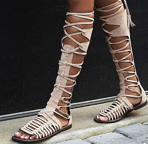 Summer Gladiator Knee High Flats Sandal Boots Cut-outs Fringed Lace Up Boots Woman Hollow Out Gray Open Toe Sandals