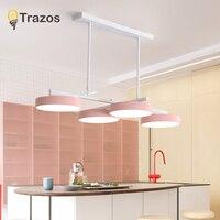 Современные светодио дный Люстра для Кухня Обеденная Гостиная подвесной светильник висит Розово серый Спальня люстры светильники