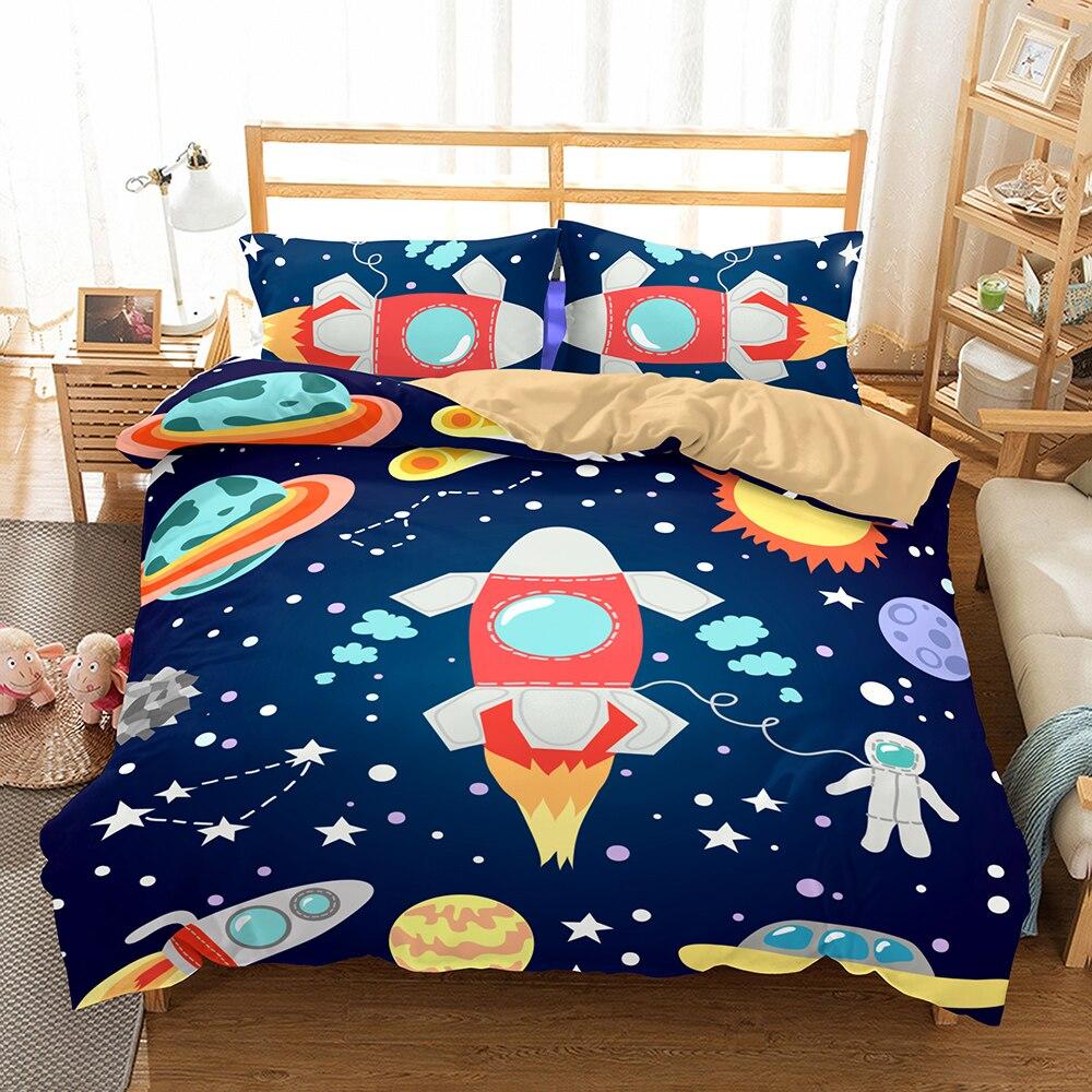 3D Blue Galaxy Bedding Sets Universe Outer Space Themed Bed Linen Set Cartoon Kid Duvet Cover Set 3PCS AU/US/EU Size Bedclothes