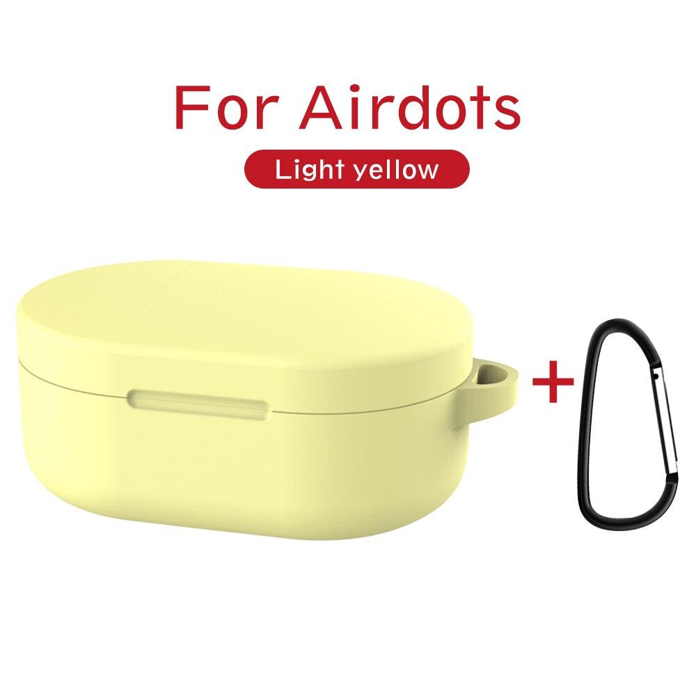 Силиконовый чехол с пряжкой для Red mi AirDots Air dots, чехол, беспроводной Bluetooth чехол s, мягкий ТПУ чехол - Цвет: Цвет: желтый