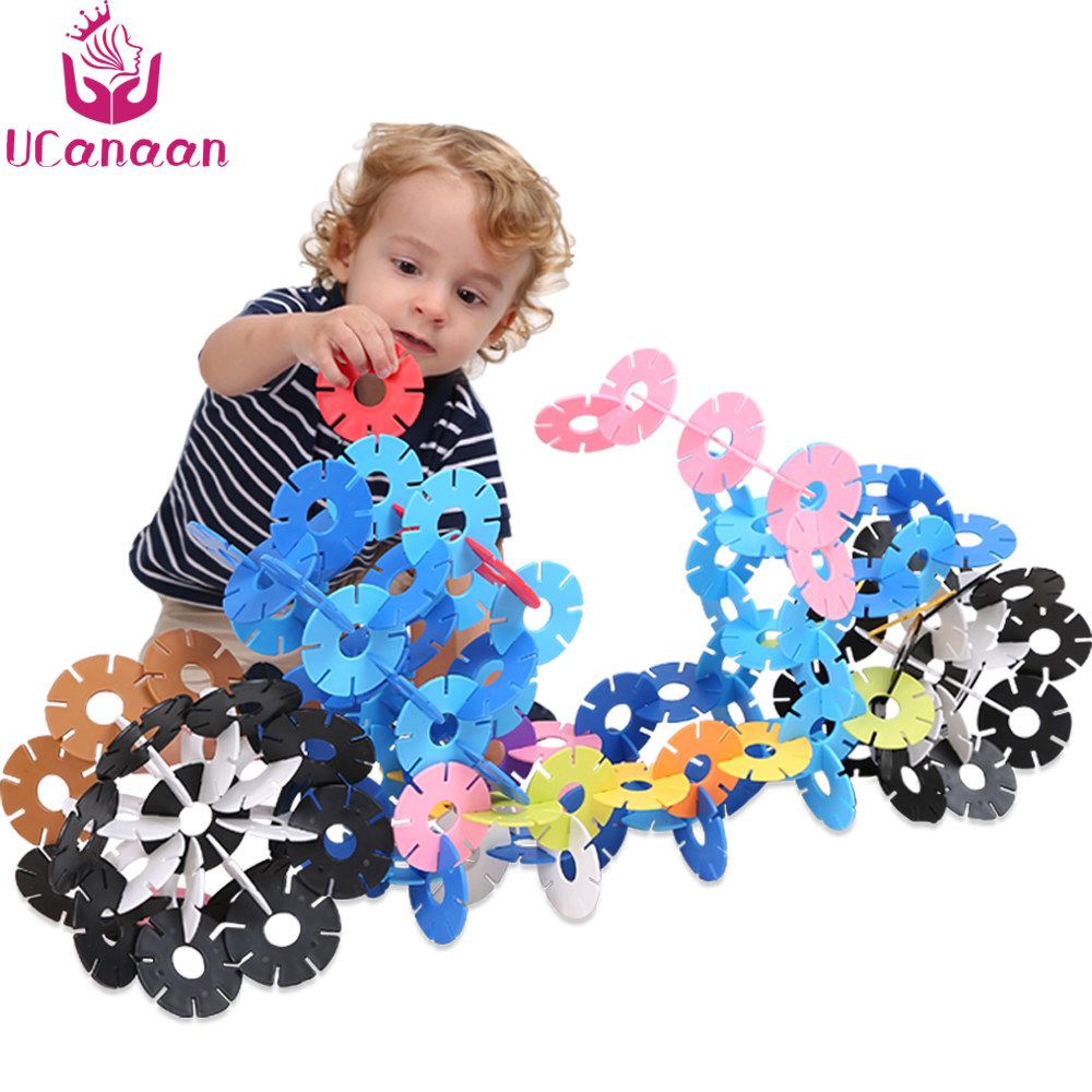 UCanaan Large Size Plastic Snowflake Puzzle Jigsaw Building Colorful Model Puzzle Educational Intelligence Toys For Children baby kids children wooden toys alphabet number building jigsaw puzzle snake shape funny digital puzlzle game educational toys