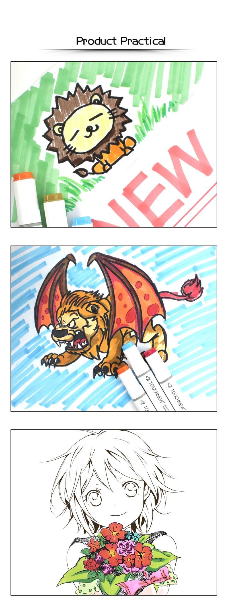 Touchnew 406080168 cores marcadores de arte dupla