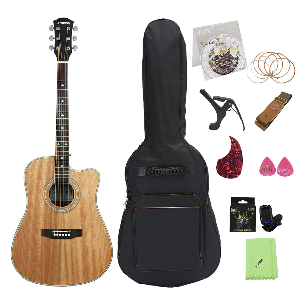 "ammoon 41"" Acoustic Guitar Cutaway Folk Guitar Rosewood Fingerboard with Gig Bag Capo Tuner Cleaning Cloth Strings Guitar Strap"