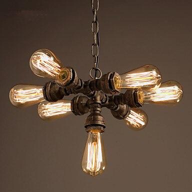 Rustic Water Pipe Pendant Lamp With 7 Edison Bulbs Retro Style Loft Vintage Industrial Lighting Fixtures Lamparas De Techo женские кольца jv женское серебряное кольцо с марказитами и эмалью rgm 2698 mz enam wg 18
