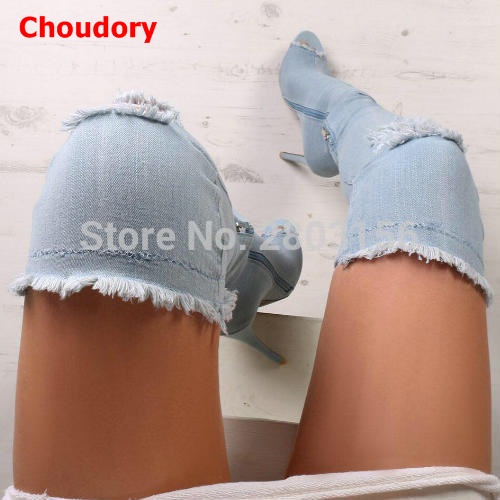 Sexy Women Denim Thigh High Peep toe Boots Thin High Heels Zipper Ladies Over The Knee Long Cowboy Botas high stretch boots denim over the knee boots shoes woman thigh high boots ripped distressed denim jeans open peep toe heels