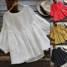 Women Casual O-Neck Loose Blouse Lantern Sleeve Top Summer Solid Tops Blouses недорого