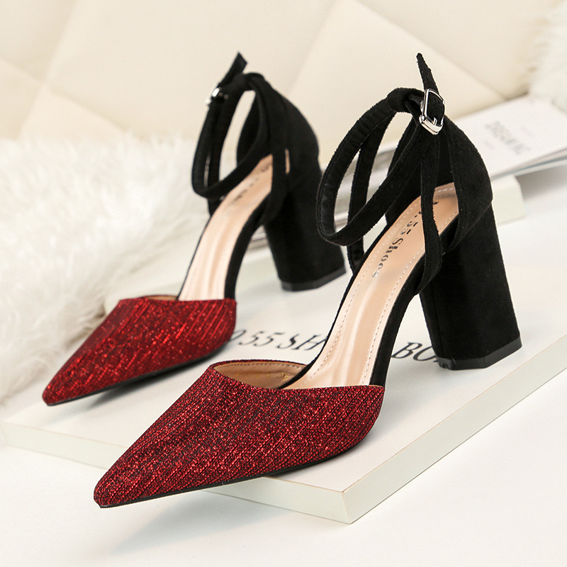 912a4fd359d US $20.97 30% OFF|High heels pumps women summer sexy pointed toe block  heels sandals woman fashion buckle strap elegant ladies party shoes-in  Women's ...