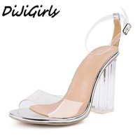 New Women Open Toe Sandals Ladies Pumps Thick High Heels Shoes Woman Crystal Clear Transparent Ankle