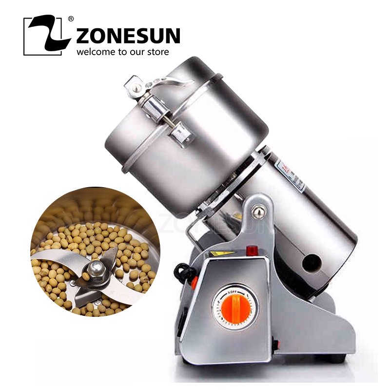 ZONEUN 600g Chinese Medicine Grinder Stainless Steel Household Electric Flour Mill Powder Machine Small Food Grinder chinese medicine grinder stainless steel household electric small mill machine ultra fine grinding powder blender device