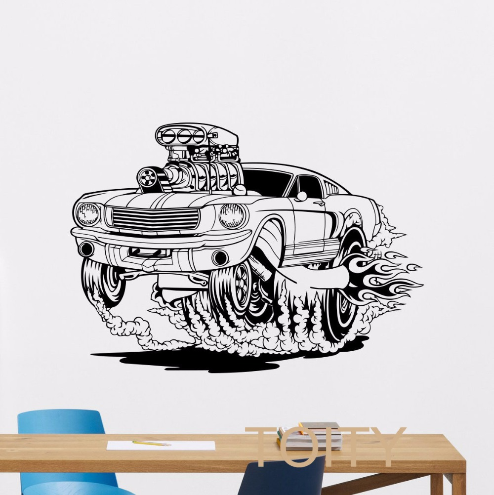 racing car wall sticker retro muscle off road vinyl decal home interior living room classic art. Black Bedroom Furniture Sets. Home Design Ideas