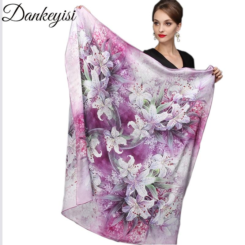 DANKEYISI 110 * 110 cm 100% Seda Gran Plaza de seda Bufandas Moda Floral Impreso Chal Venta Mujeres Genuino Seda Natural Bufanda de la bufanda