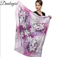 DANKEYISI 110*110cm 100% Silk Big Square Silk Scarves Fashion Floral Printed Shawl Sale Women Genuine Natural Silk Scarf Shawl