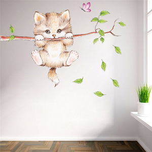 Image 1 - cute cat butterfly tree branch wall stickers for kids rooms home decoration cartoon animal wall decals diy posters pvc mural art