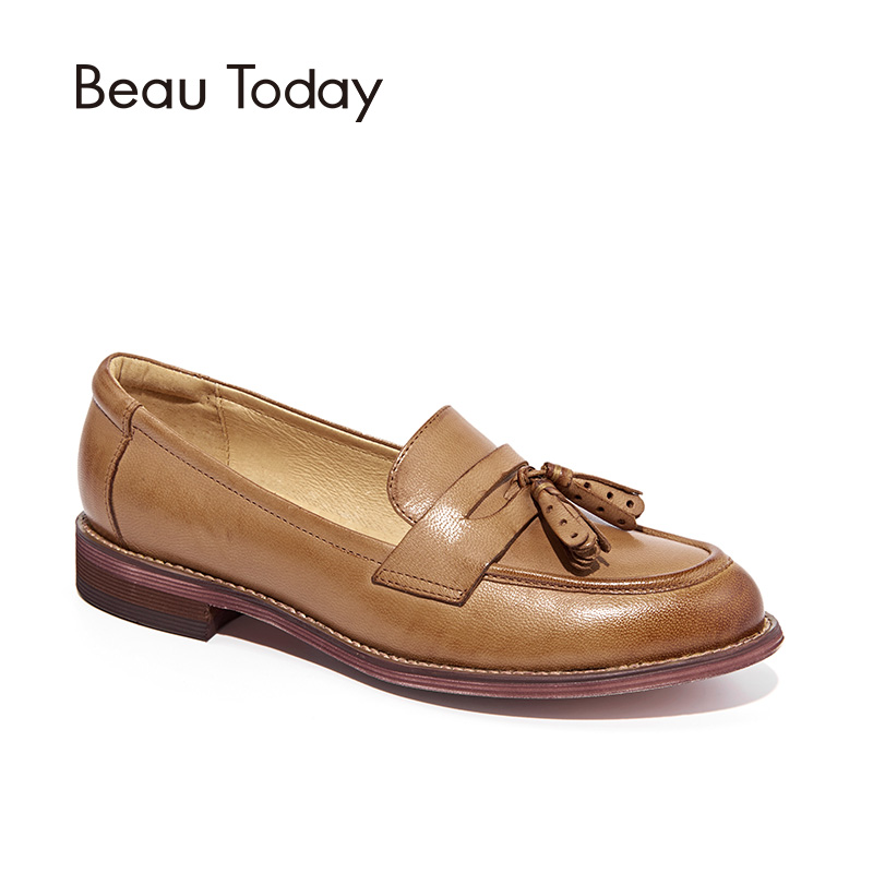 BeauToday Penny Loafers Women Tassels Genuine Leather Sheepskin Moccasin Pointed Toe Lady Flats Slip On Shoes Handmade 27075