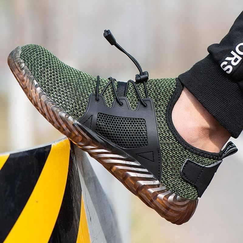 2019 ทำลาย Ryder รองเท้าผู้ชายเหล็ก Air ความปลอดภัยรองเท้าเจาะหลักฐานทำงานรองเท้าผ้าใบ Breathable รองเท้า