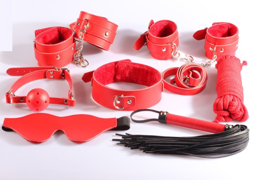 7 pieces in 1 lot, New Restrain kit: hand cuffs, ankle cuffs, leather flogger, collar, gag, paddle cotton rope Novelty product цена