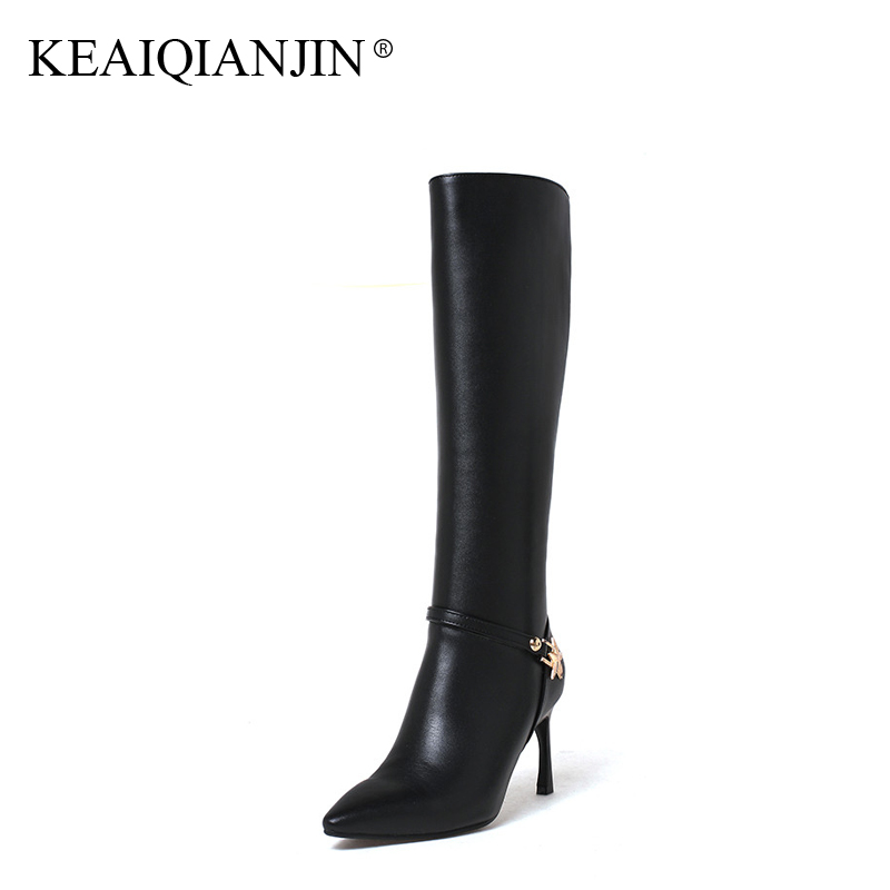 KEAIQIANJIN Woman Knee High Botas Winter Metal Decoration Plus Size 33 - 43 Genuine Leather Shoes Pointed Toe High Heel Boots