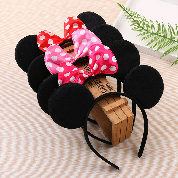 Mickey Ears Mickey Minnie Hairbands For Girls  Accessories Girl Tiara Red Bow Headband For Boys And Girls Birthday Party