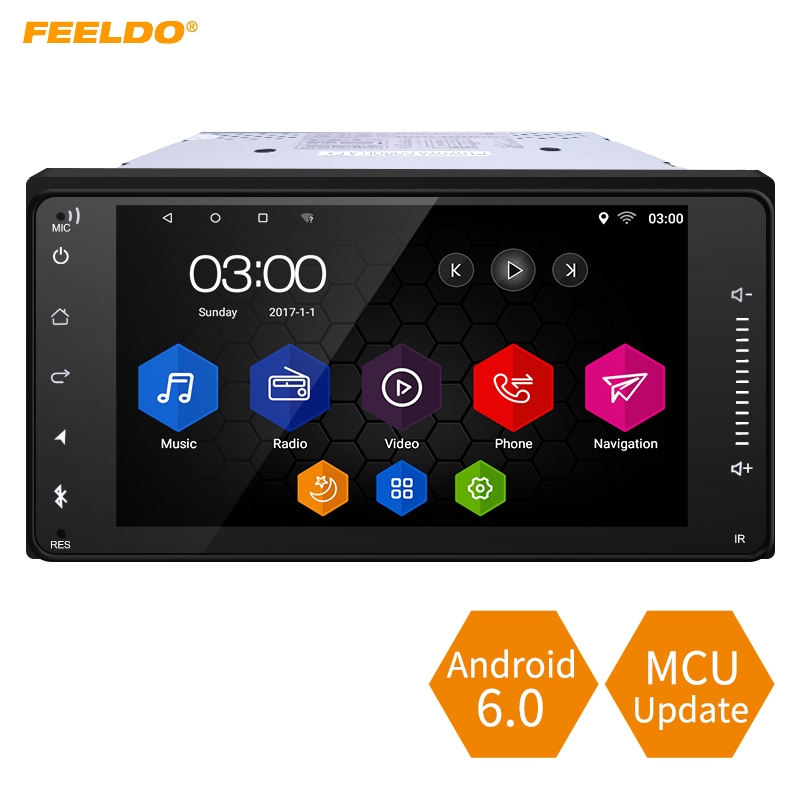 FEELDO 7inch Short Case Android 6.0 Quad Core Car Media Player With GPS Navi Radio For Toyota Universal 2DIN RAV4/Corolla feeldo 7inch android 4 4 2 quad core car media player with gps navi radio for nissan hyundai universal 2din iso gift am3900