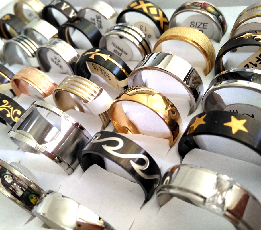 50pcs BIG SIZE 20 21 22 23 24 Men s Stainless Steel Band Rings TOP MIX