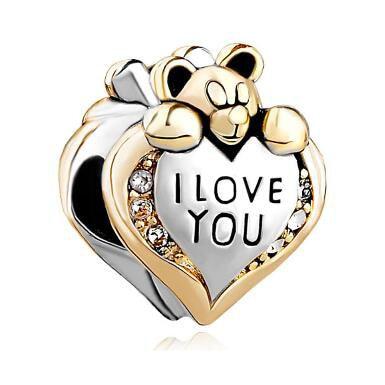 Slide bead Fit Pandora charm bracelets Heart Crystal I Love You Bear For Beads Charms Bracelets beads for jewelry making