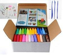 24 цветов DIY Мягкий Полимерный Моделирование Клей комплект с инструментами Воздушно-сухой хороший пакет FIMO Effect Блоки Специальные Игрушки подарок для Детей