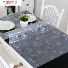 Modern PVC Waterproof Tablecloth Transparent Tablecloth with Pattern Kitchen Table Cover Oil Cloth Soft Glass Tablecloth 1.0 Mm