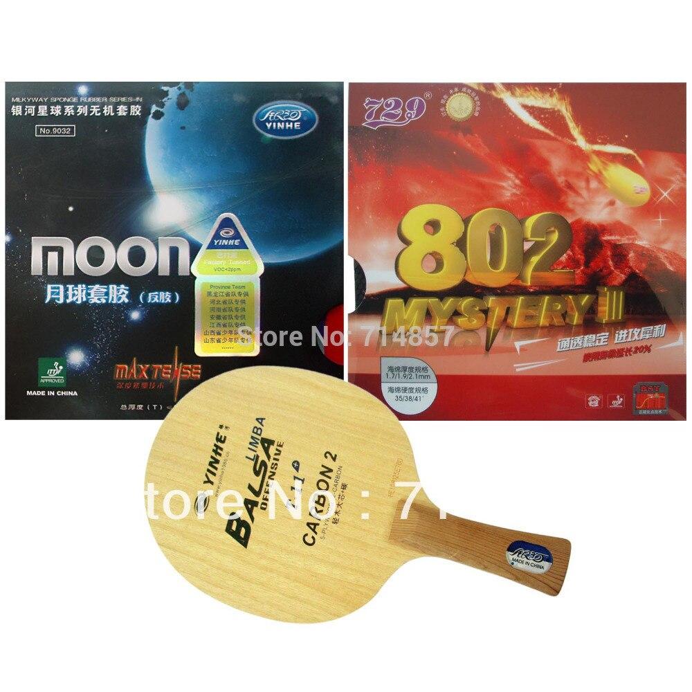 D'origine Voie Lactée Yinhe T-11 + lame + Lune Usine À L'écoute et RMCT 729 Mystère III 802 caoutchoucs pour une raquette Longue Shakehand FL