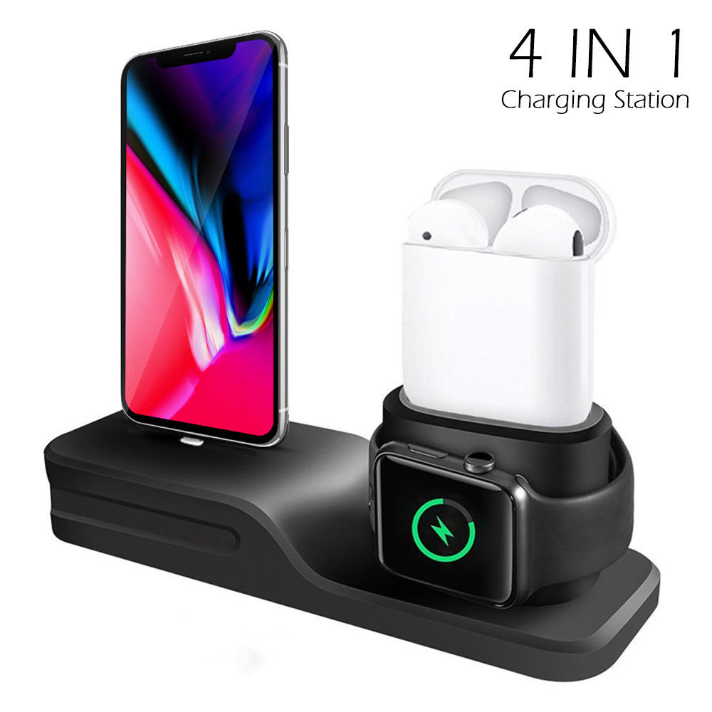 Charging Dock Charger 4 in 1 for Iphone X XR XS MAX 8 7 6 Charging Dock Silicone Docking Station for Apple Watch Airpods 2 3 4Charging Dock Charger 4 in 1 for Iphone X XR XS MAX 8 7 6 Charging Dock Silicone Docking Station for Apple Watch Airpods 2 3 4
