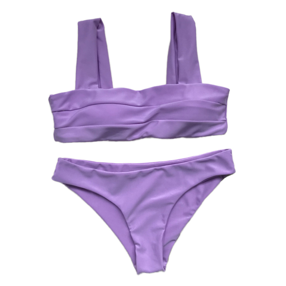 BANDEA 2019 Newest Bikini Solid Swimwear Women Bandeau Bikini Set Beach Push Up Swimsuit Summer Sport Bikini Bathing Suit in Bikinis Set from Sports Entertainment