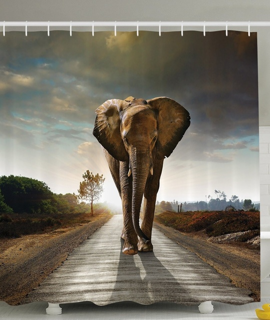 African Decorations Art Collection Elephant Polyester Fabric Bathroom Shower Curtain