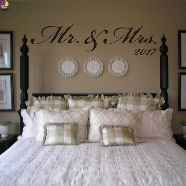 Elegant Mr U0026 Mrs Custom Date Wall Sticker Bedroom Sofa Wedding Room Party Love  Quote Wall Decal