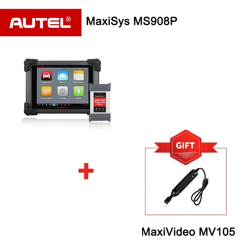 Autel MaxiSYS Pro MS908P Diagnostic Tool and ECU Programming Scanner with J2534 box Inspection Camera MV105 as gift