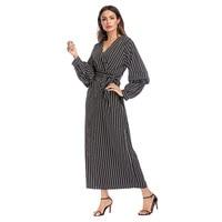 Casual Stripes Long Dress Full Length Robe V Neck Black White Abaya Fashion Muslim Prayer Arabic Robe Comfortable 1592