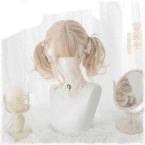 Image 4 - 일본 코스프레 그라디언트 옹 브르 가발 여자 로리타 공주 소녀 매일 짧은 곱슬 머리 합성 머리 + 가발 모자