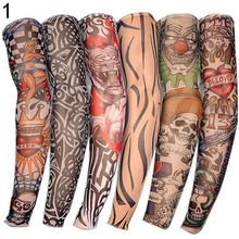 1 PCS New Nylon Elastic Fake Temporary Tattoo Sleeve Designs Body Arm Stockings Tattoo for Cool Men Women Drop shipping