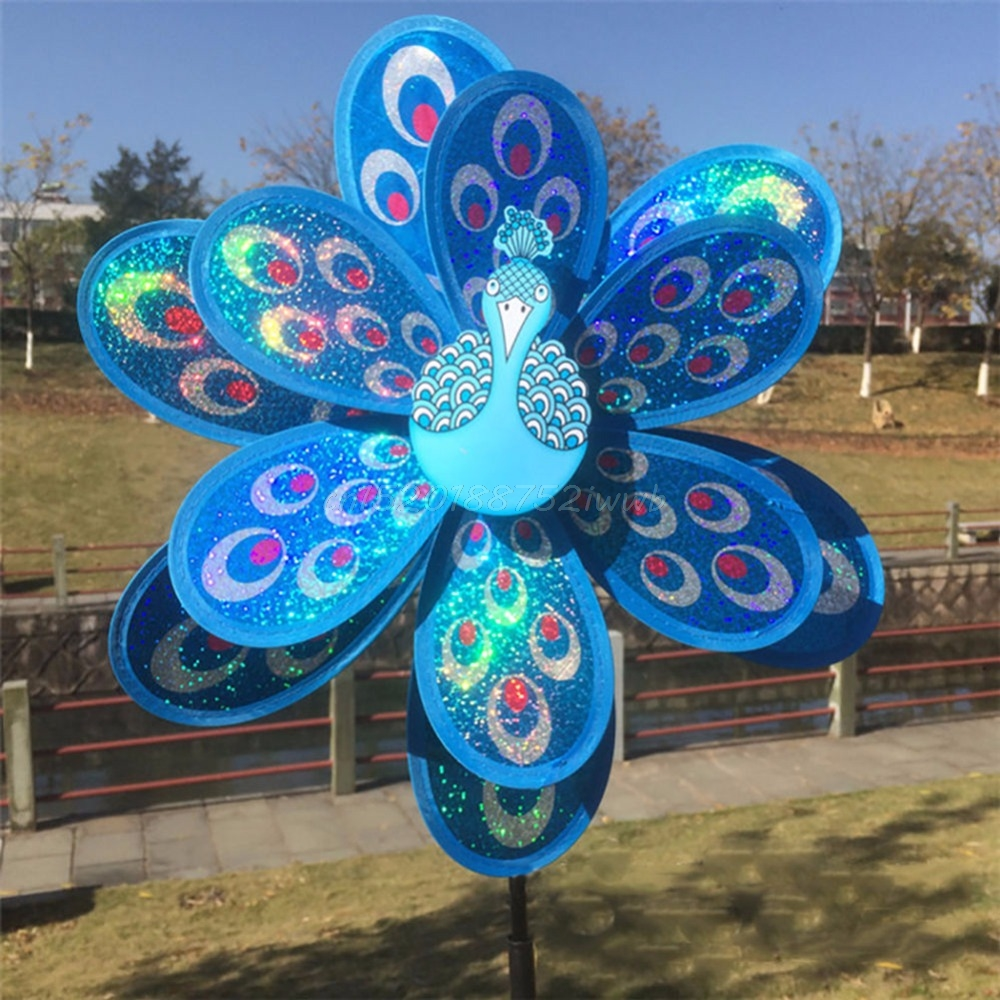 Double Layer Peacock Laser Sequins Windmill Colourful Wind Spinner Home Garden Decor Yard Kids Toy  #T026#