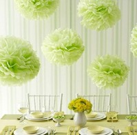 10 stks/partij Kleurrijke Tissue Papieren Bloem Bal Tissuepapier Pom Poms Bruiloft Decoratie 35 cm 14
